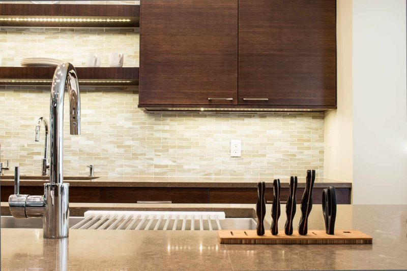 Walnut Galley 4 contemporary kitchen with Galley Workstation kitchen sink and induction cooking and cleanup kitchen sink with open shelves above