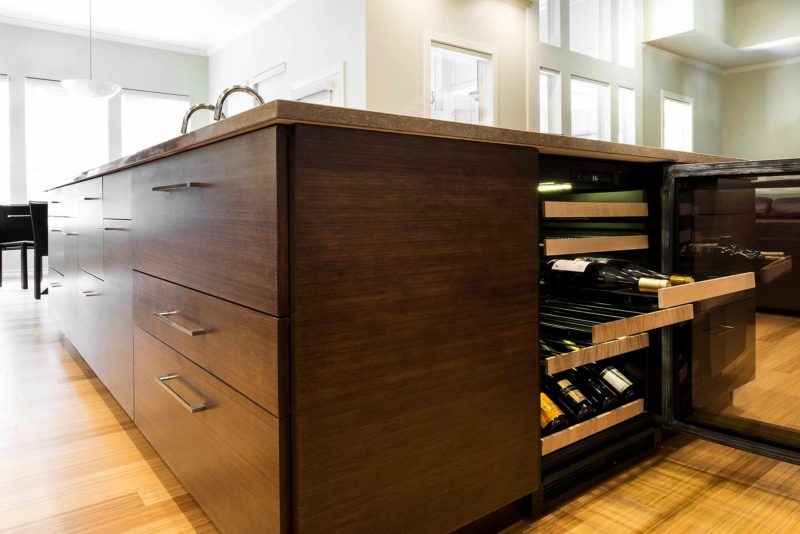 Walnut Galley 6 contemporary kitchen island with pullout wine refrigerator
