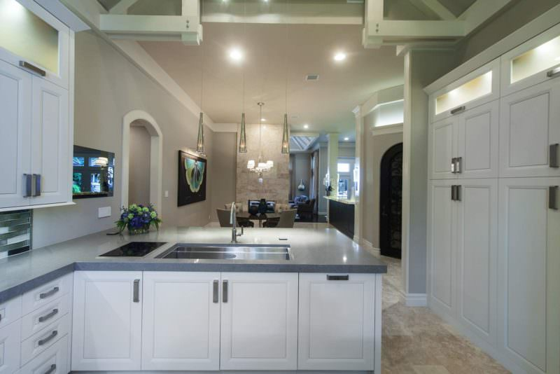 Leaves You Jonesin 3 contemporary kitchen with open peninsula and Galley Workstation stainless steel kitchen sink