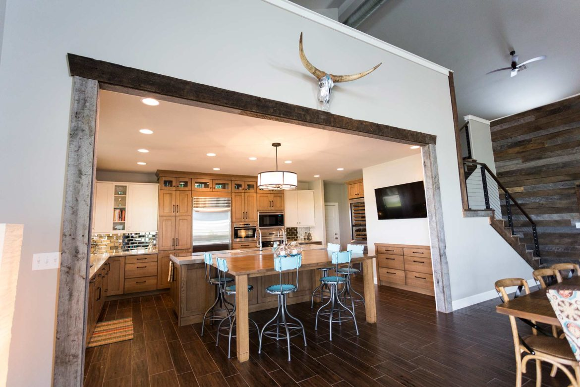 Back At The Ranch 3 Rustic Open Kitchen Entry From Spacious Living