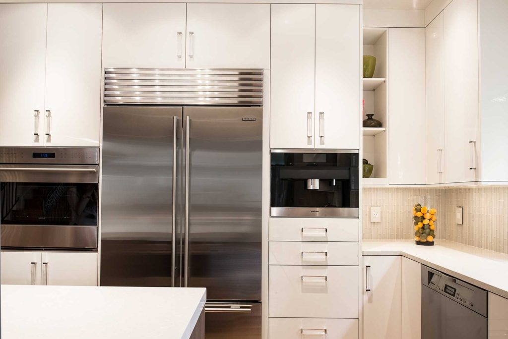 Chrome and Cream 2 beautiful and functional kitchen with refrigeration, ovens and storage