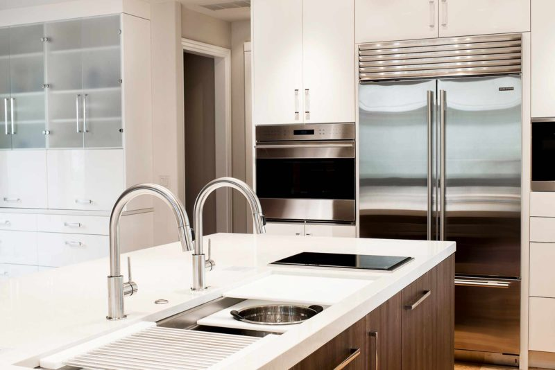 Chrome and Cream 5 beautiful and functional kitchen with Galley Workstation kitchen sink and induction cooktop