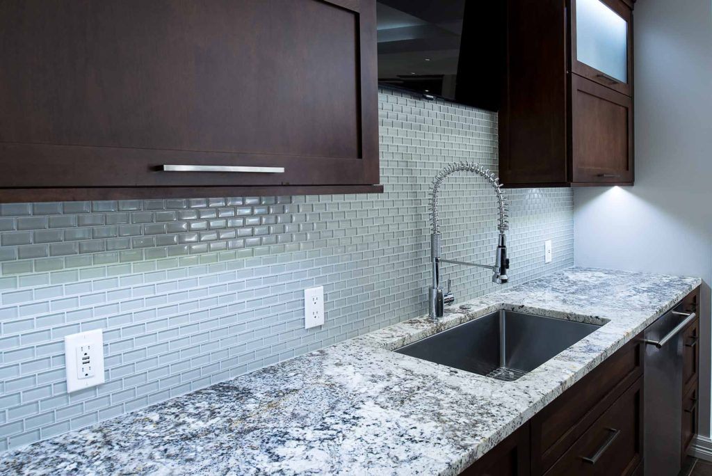 Dark Industrial 2 Handsome and rich kitchen and cleanup sink with tile backsplash backdrop