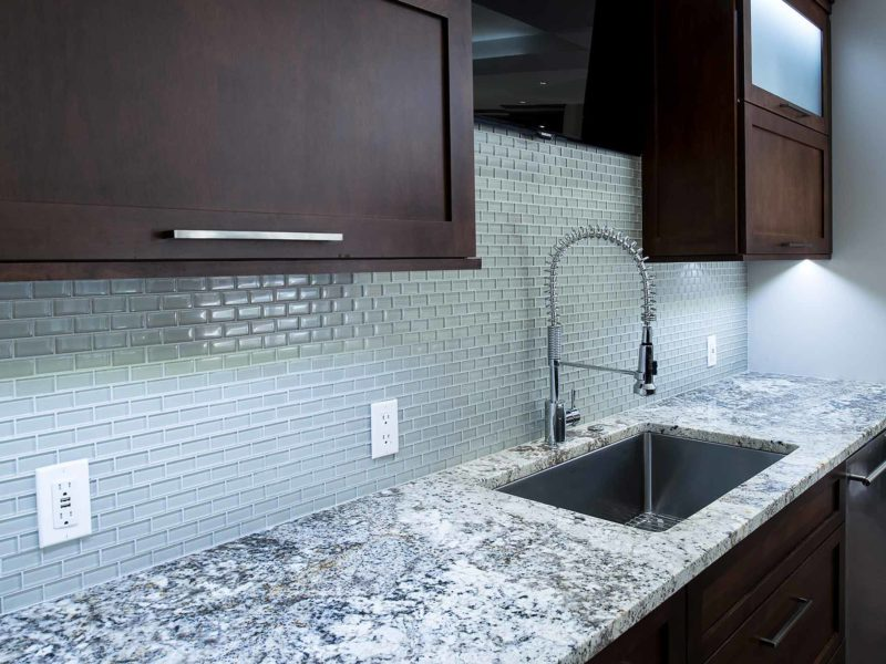 Dark Industrial 2 Handsome and rich kitchen and cleanup sink with tile backsplash backdrop