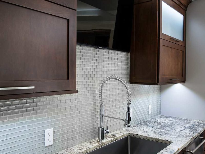 Dark Industrial 3 Handsome and rich kitchen and cleanup sink with tile backsplash backdrop and wall cabinet storage