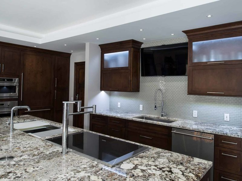 Dark Industrial 4 Handsome and rich kitchen with Galley Workstation large stainless steel kitchen sink and induction cooktop