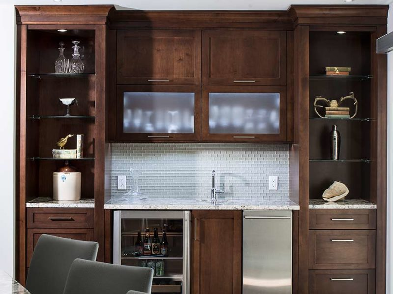 Dark Industrial 9 Handsome and rich kitchen with beverage center complete with undercounter refrigerator-and-wall-cabinets-with-frosted-glass-fronts