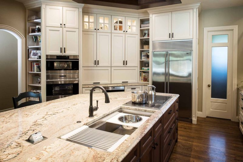 Marble & Wood 8 old world kitchen with galley workstation kitchen sink and induction cooktop