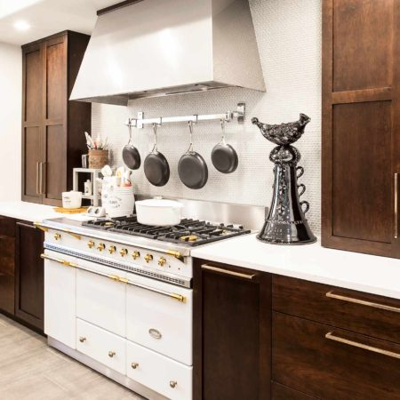 The New Antique 1 classy kitchen with Lacanche French gas range and vent hood