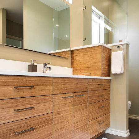 Beyond the Kitchen 3 modern bathroom counter with wood grain cabinets