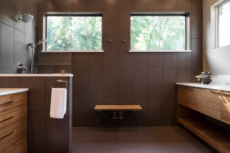 Beyond the Kitchen 6 slate grey tile contemporary shower with wood seating