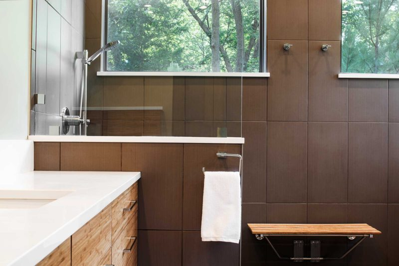 Beyond the Kitchen 9 slate tile contemporary shower with wood seating