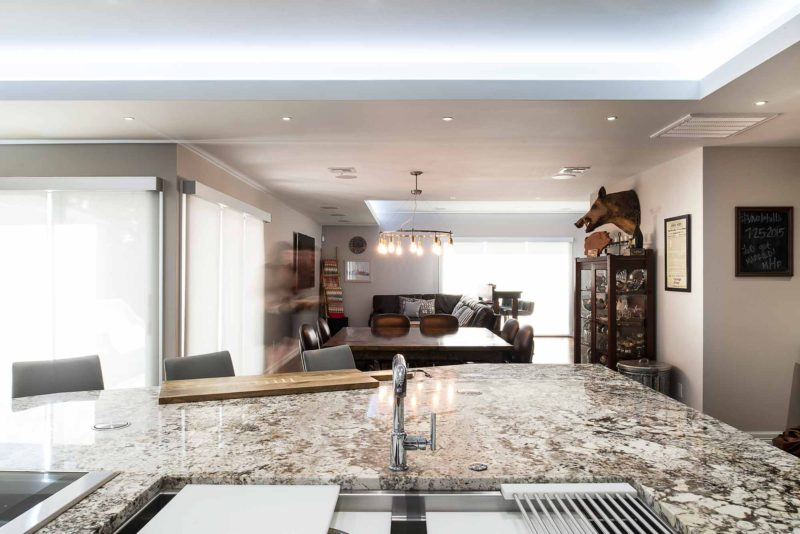 Dark Industrial 11 Handsome and rich kitchen with Galley Workstation large stainless steel kitchen sink on island open to dining table