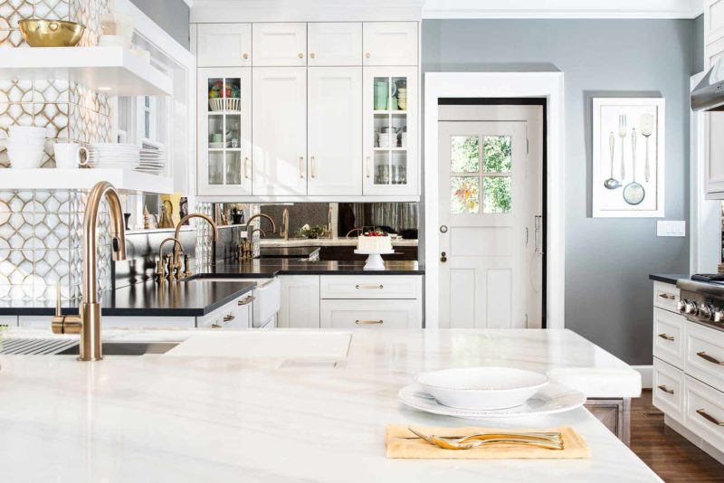 Historically Classy 3 beautiful kitchen with mirror backsplash