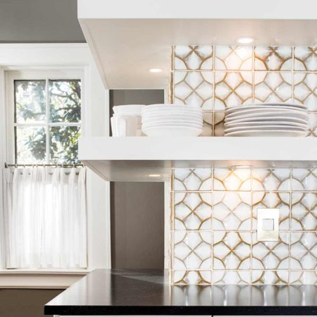 Historically Classy 4 beautiful kitchen with mirror backsplash and open shelves