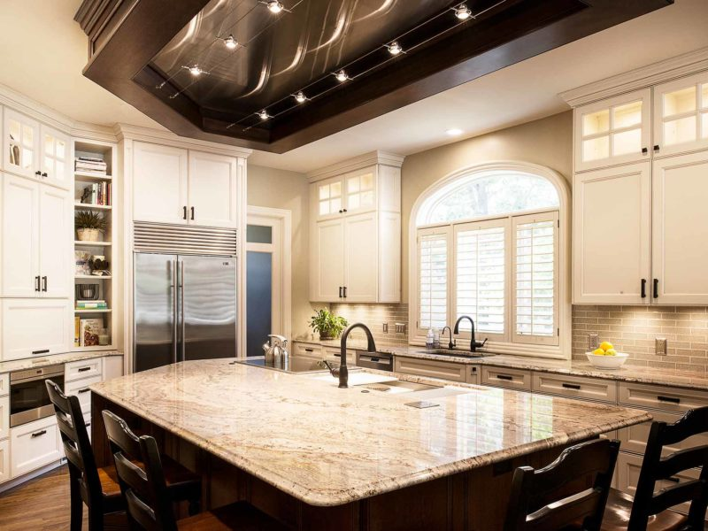 Marble & Wood 12 old world kitchen with galley workstation kitchen sink and induction cooktop