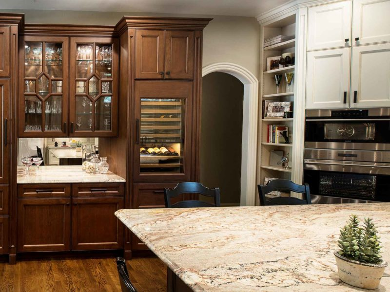 Marble and Wood 9 old world kitchen with beverage center and wine refrigerator