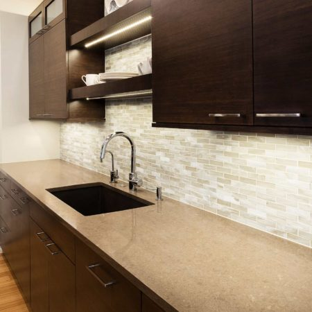 Walnut Galley 2 contemporary kitchen with cleanup kitchen sink and open shelves above