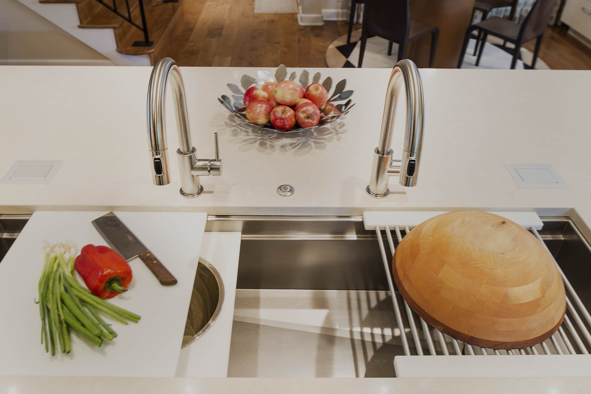 Chrome and Cream modern kitchen with Galley Workstation kitchen sink