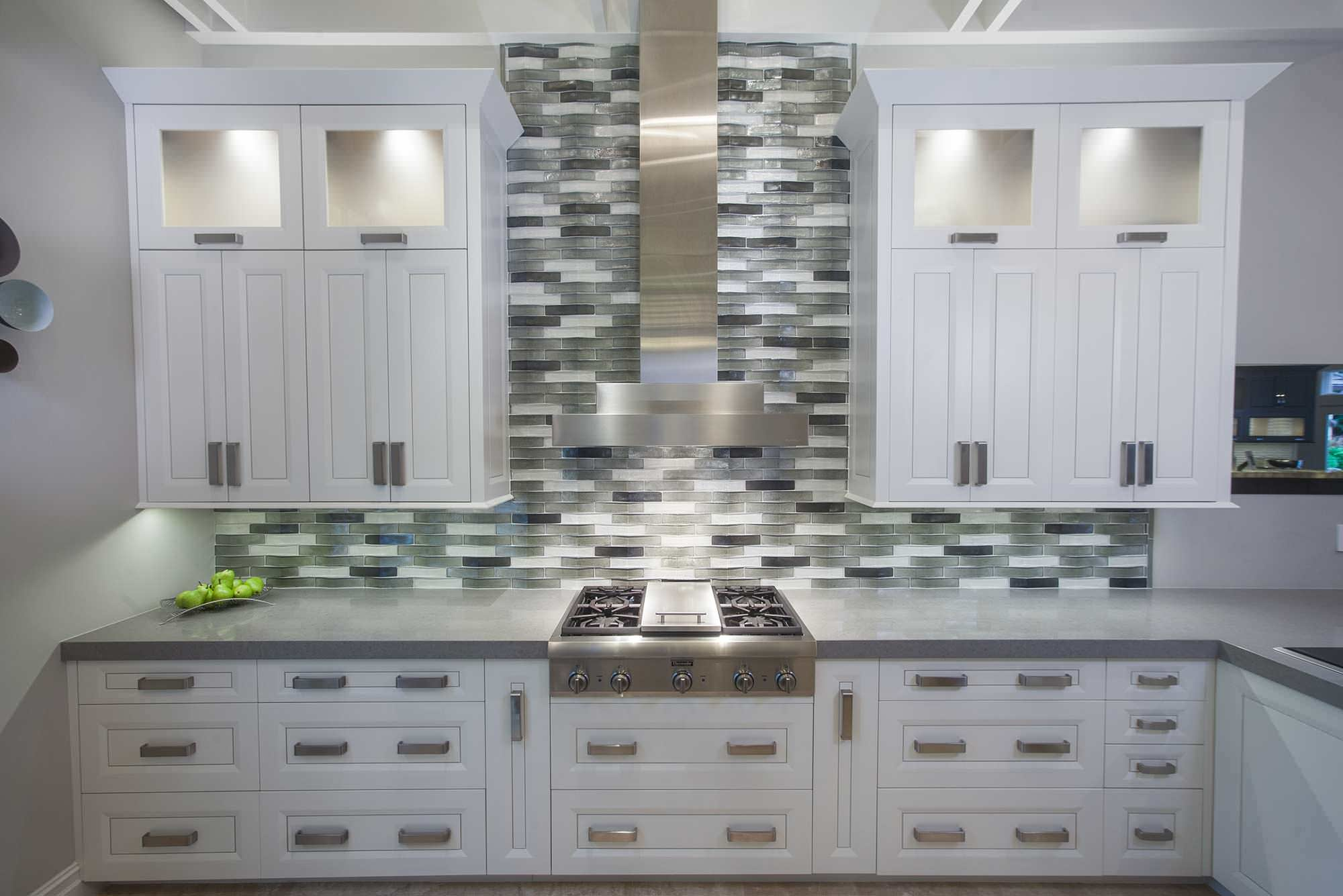 Contemporary Kitchen With Thermador Gas Range Top Vent Hood Above