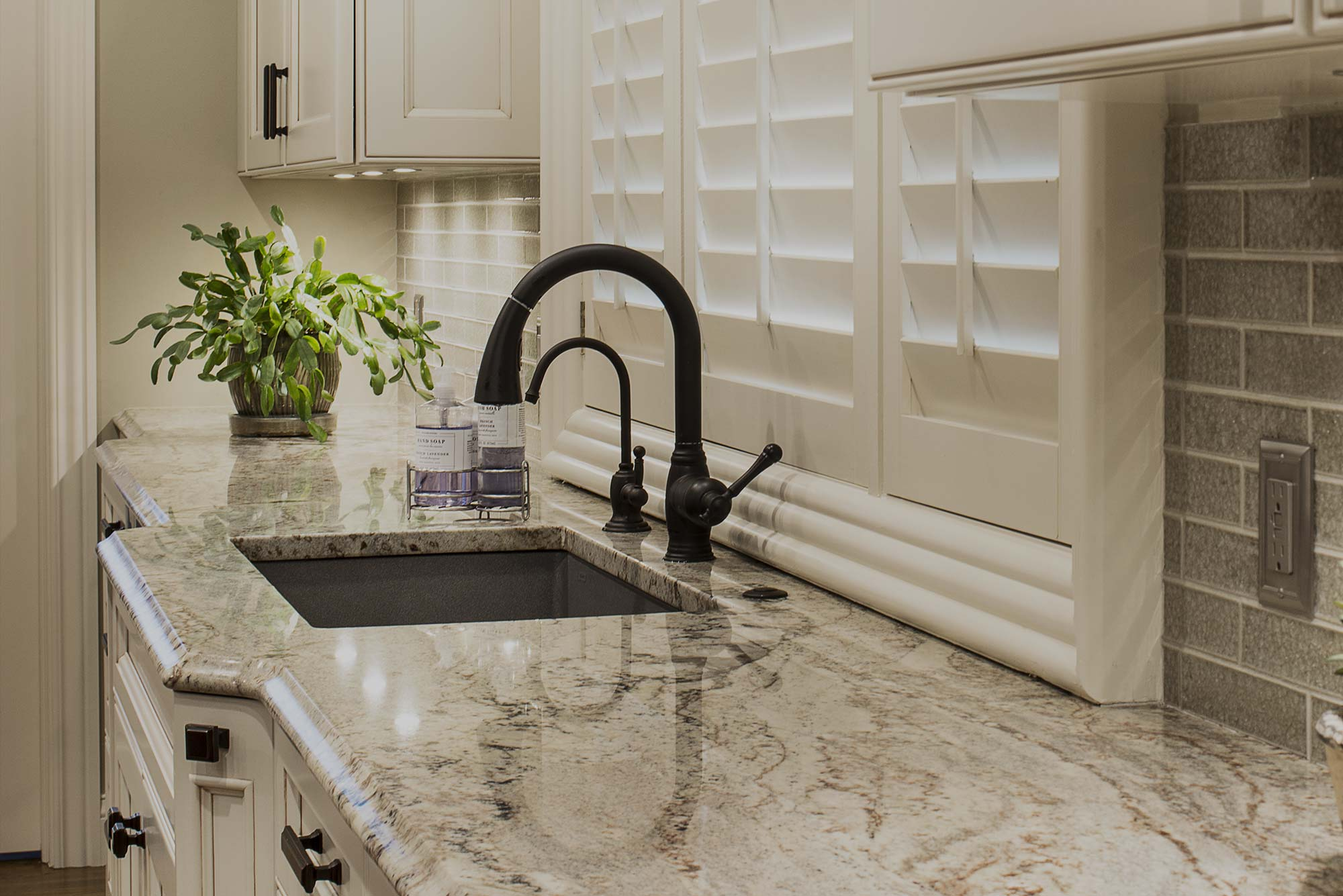 Marble & wood old world style kitchen clean-up kitchen sink