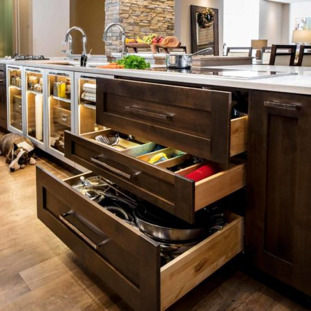 Modern south Tulsa kitchen drawer base storage, induction cooktop, large island Galley Workstation, Caesarstone counter-top and luxury vinyl flooring
