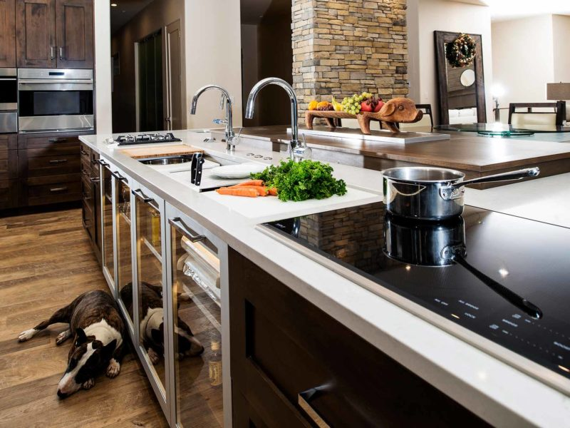 Modern south Tulsa kitchen remodel with Galley Workstation large kitchen sink, induction cooktop, large island lit base cabinet storage, Wolf ovens and luxury vinyl wood flooring