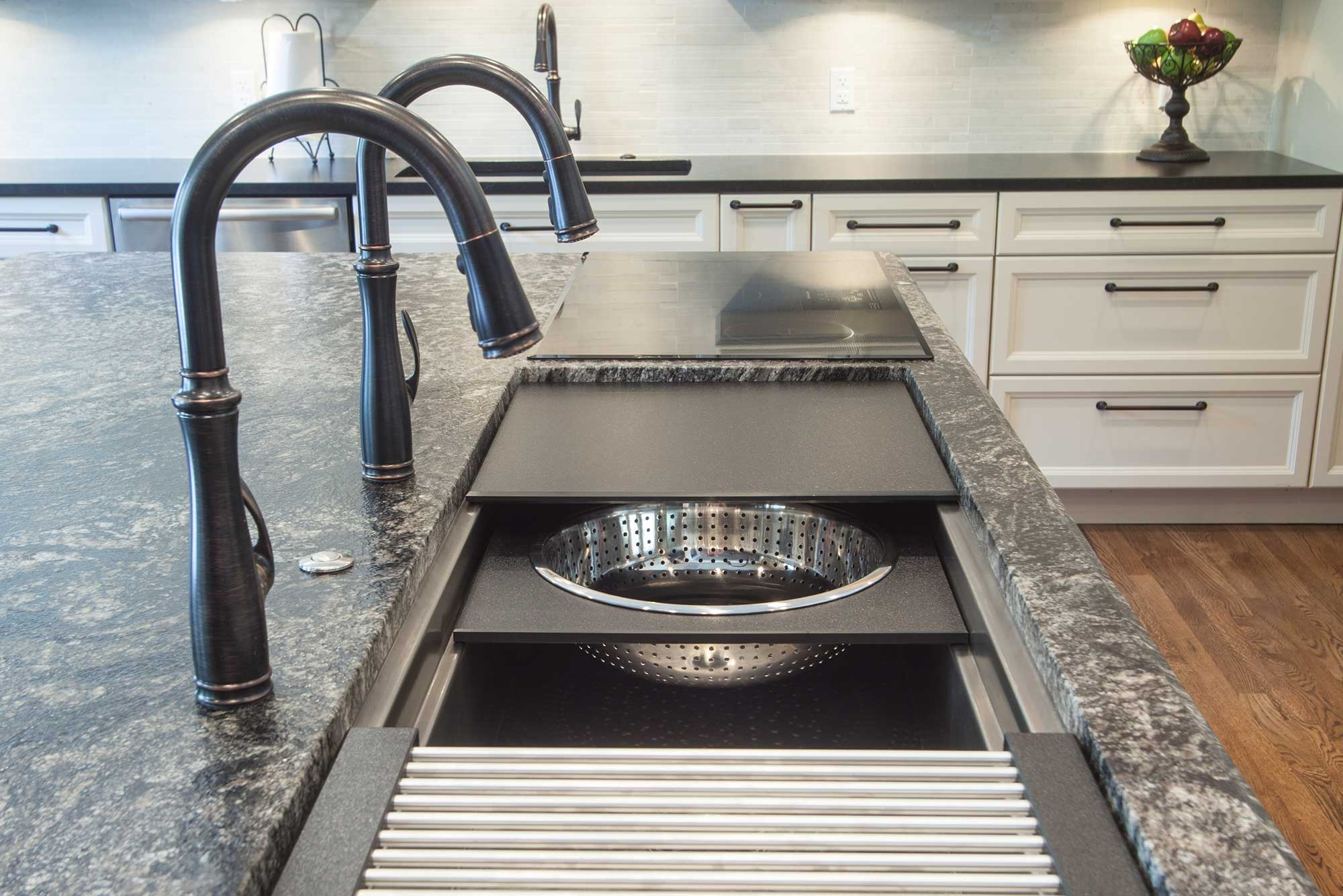 Seamless Fusion Tulsa Kitchen island with Galley Workstation kitchen sink