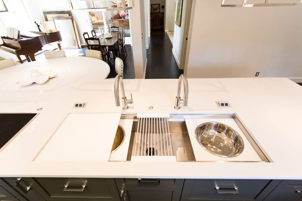 White Done Right 4 elegant open kitchen and Galley Workstation large stainless steel kitchen sink in island