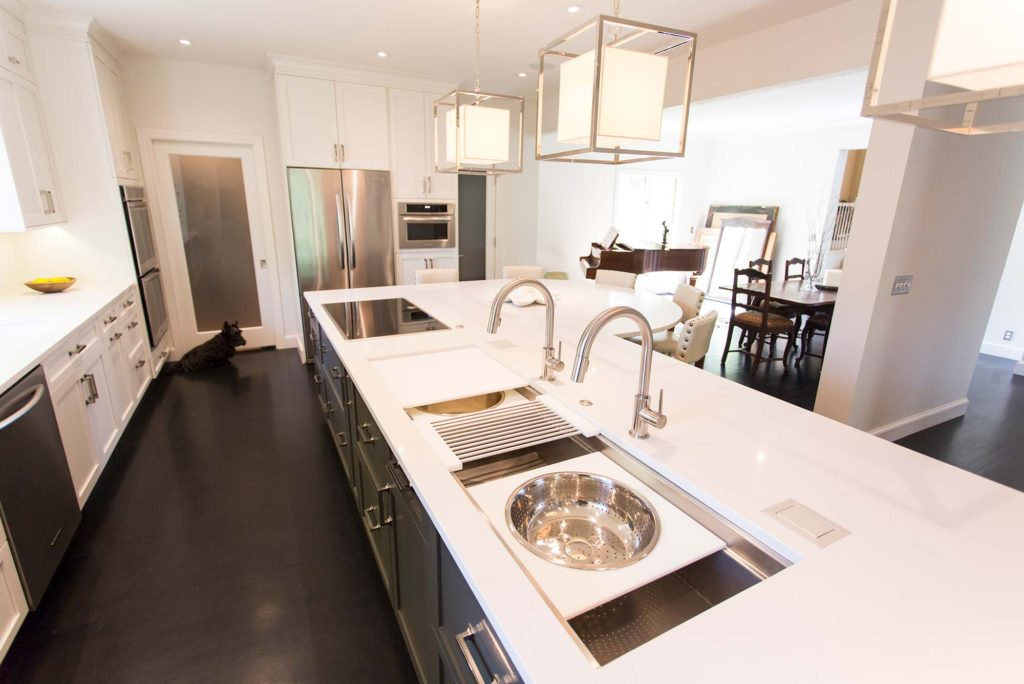 White Done Right 7 elegant open kitchen and Galley Workstation large stainless steel kitchen sink and induction cooktop in island