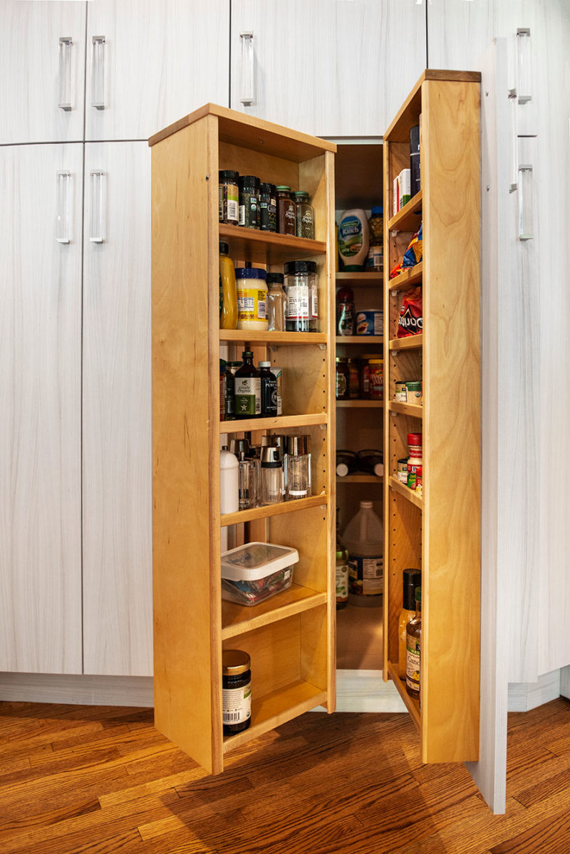 Transitional Kitchen Ideas Tulsa kitchen remodel with tall pantry storage for condiments, oils, spices and containers
