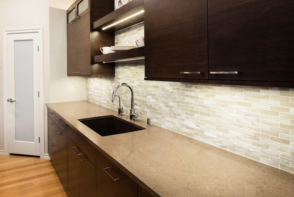 Contemporary Tulsa kitchen with bamboo base cabinet storage, Blanco clean-up kitchen sink, Caesarstone quartz counter top and open shelves above